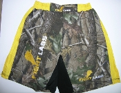 MMA FIGHTER WALKOUT SHORTS REAL TREE CAMO Yellow Stripe
